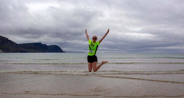 Jumping for joy after completing the 2019 Achill 10K