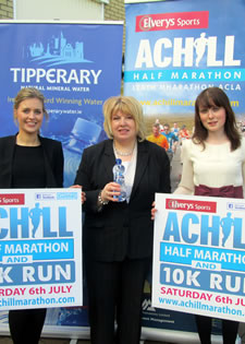 Aine Casserly, Brand Manager, Tipperary Natural Mineral Water and Boost Energy with Mary B Gallagher of Achill Half Marathon and Siobh�n Comerford, Manager, Achill Tourism